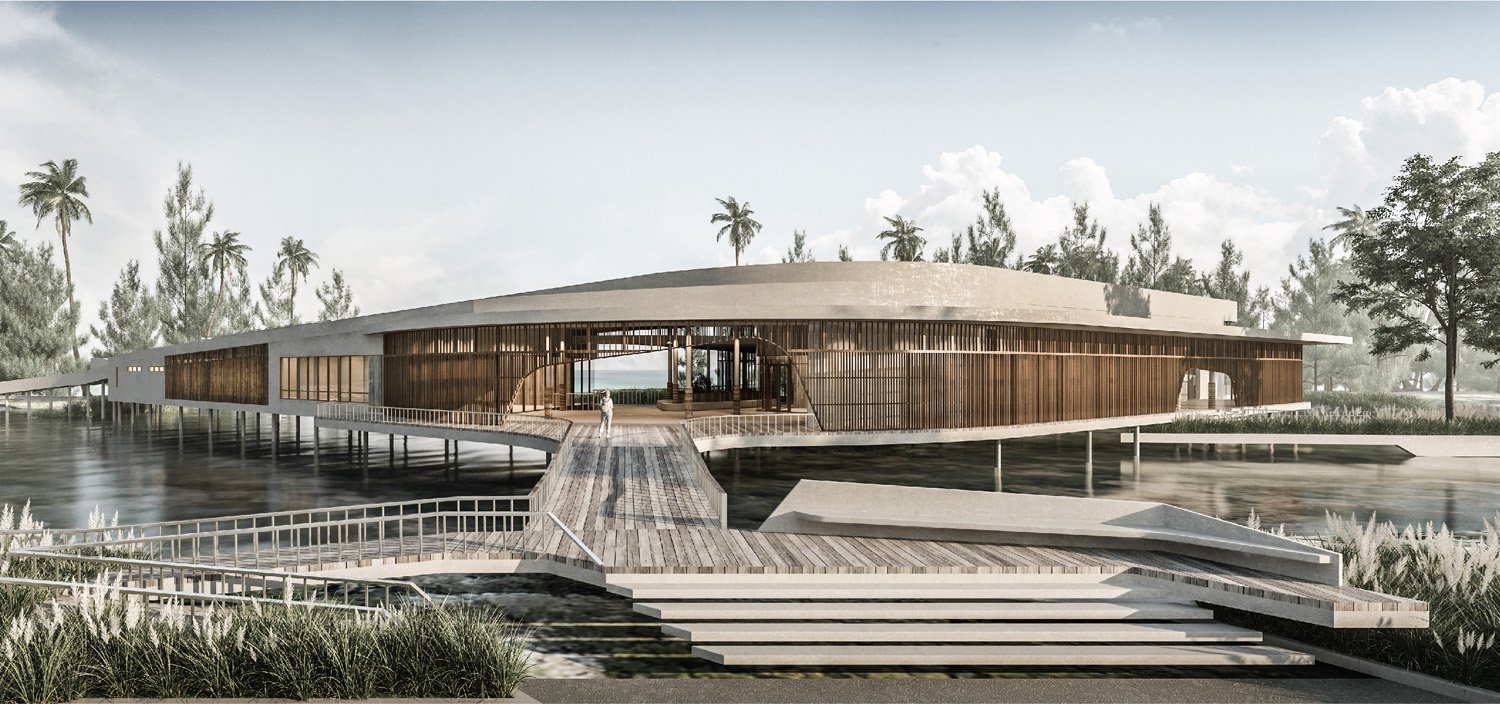 Accessed via a bridge to perceive the cowry shell architecture sitting on the water Vaslab