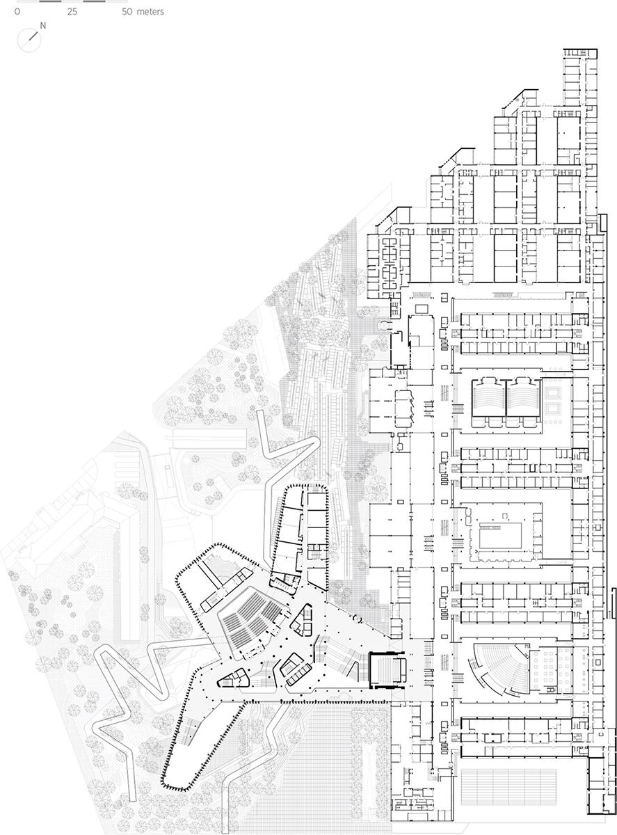 Plan niveau 01_with landscape C.F. Møller Architects}
