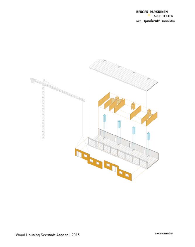 Wood Housing Seestadt Aspern, axonometry © berger+parkkinen architekten | querkraft architekten}