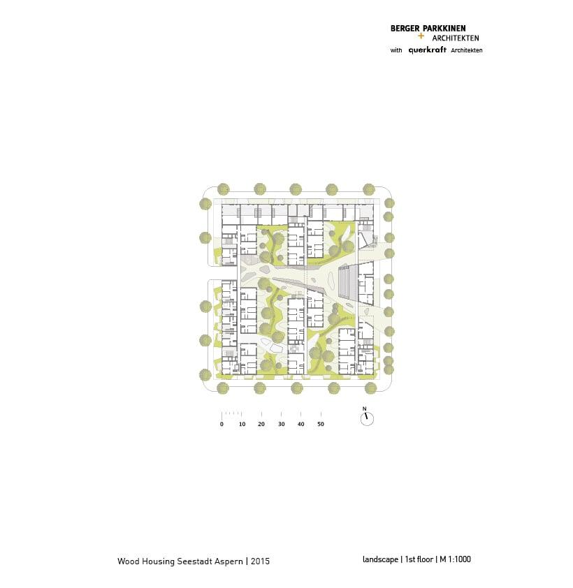Wood Housing Seestadt Aspern, first floor © berger+parkkinen architekten | querkraft architekten}