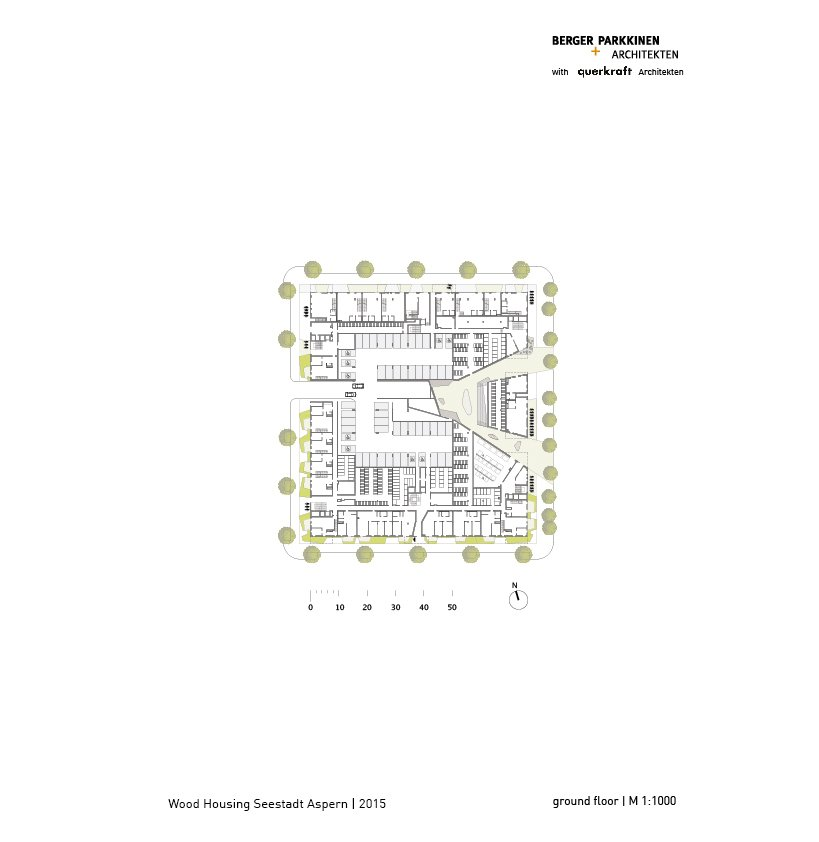 Wood Housing Seestadt Aspern, ground floor © berger+parkkinen architekten | querkraft architekten}