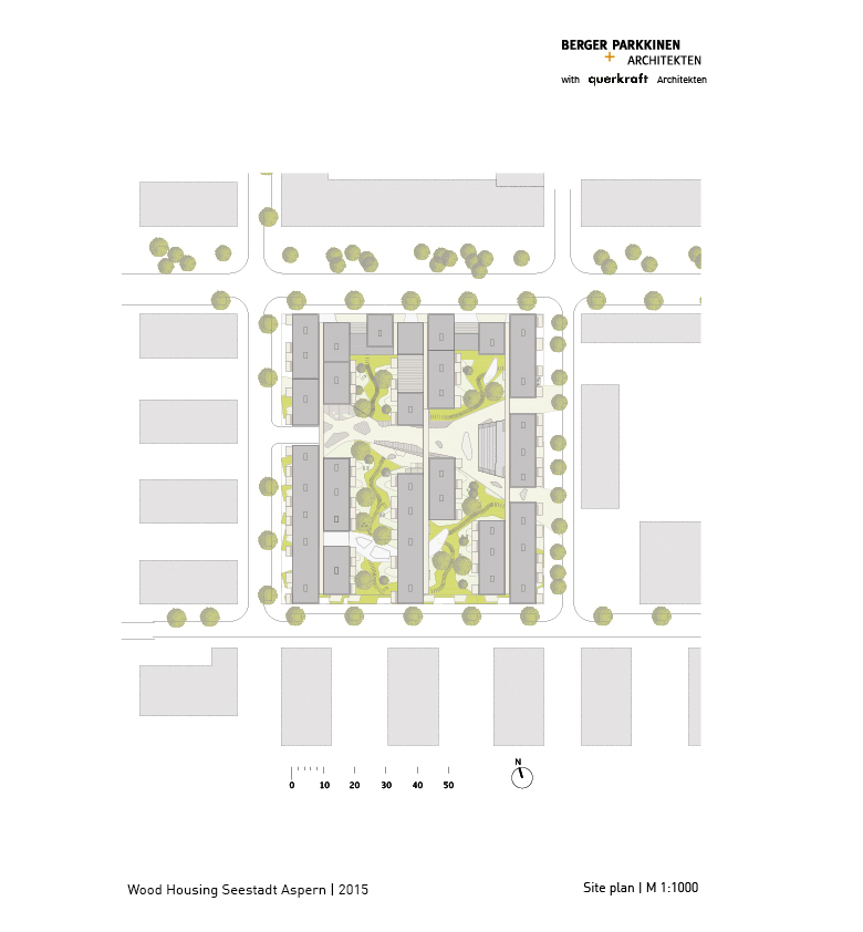 Wood Housing Seestadt Aspern, site plan © berger+parkkinen architekten | querkraft architekten}