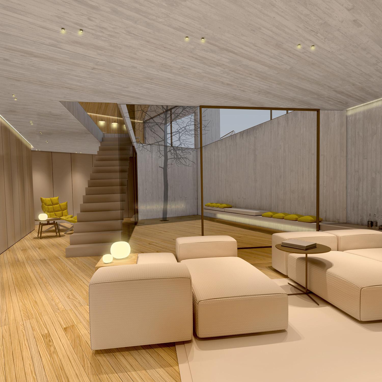 zona living piano seminterrato -vista della doppia altezza dal basso Arch. Salvatore Terranova