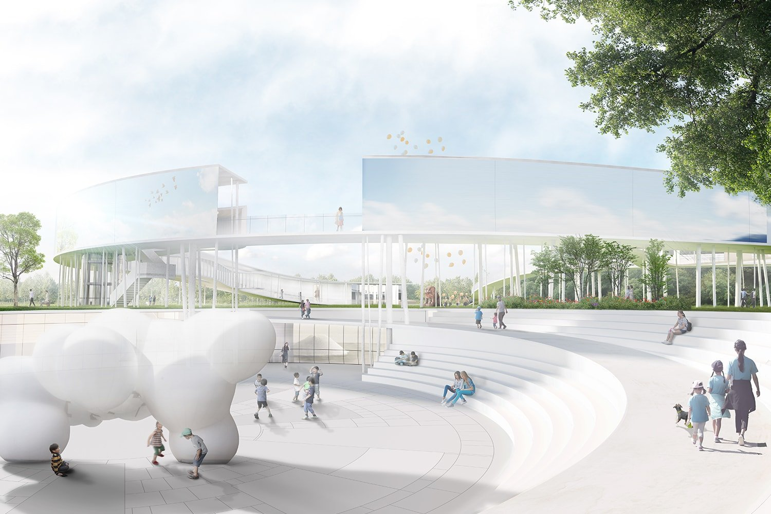 Arts Square and Visitor Center Approach View 3D Visualization: Heeseung Choi / A+U Lab