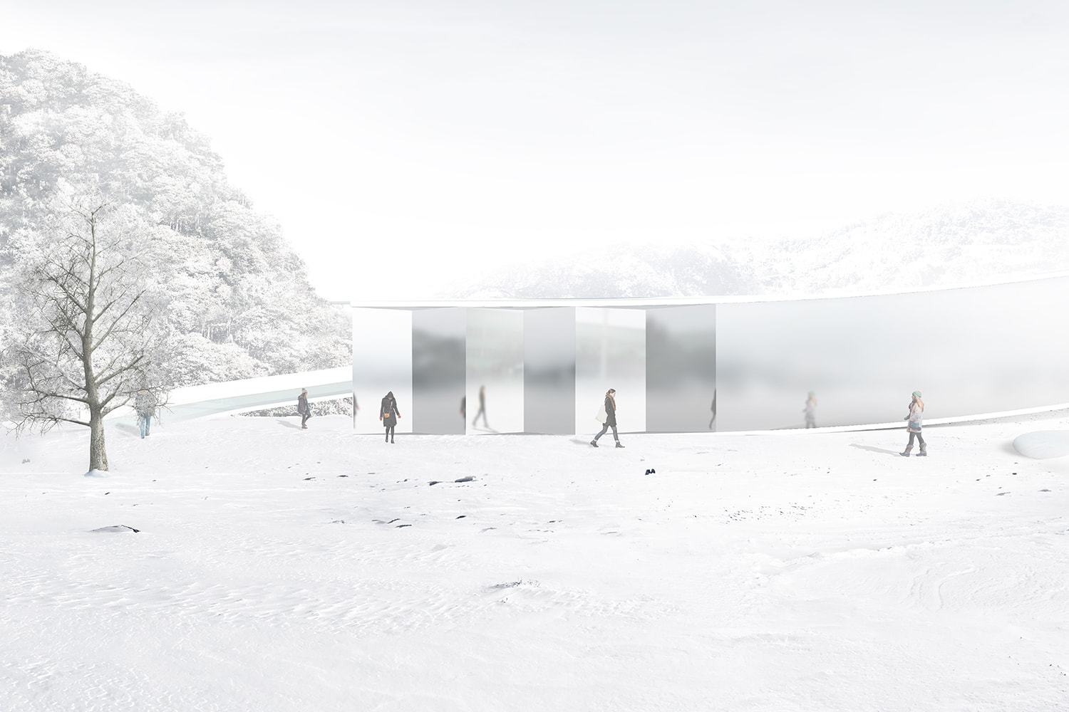 Memorial Entrance Approach View 3D Visualization: Heeseung Choi / A+U Lab