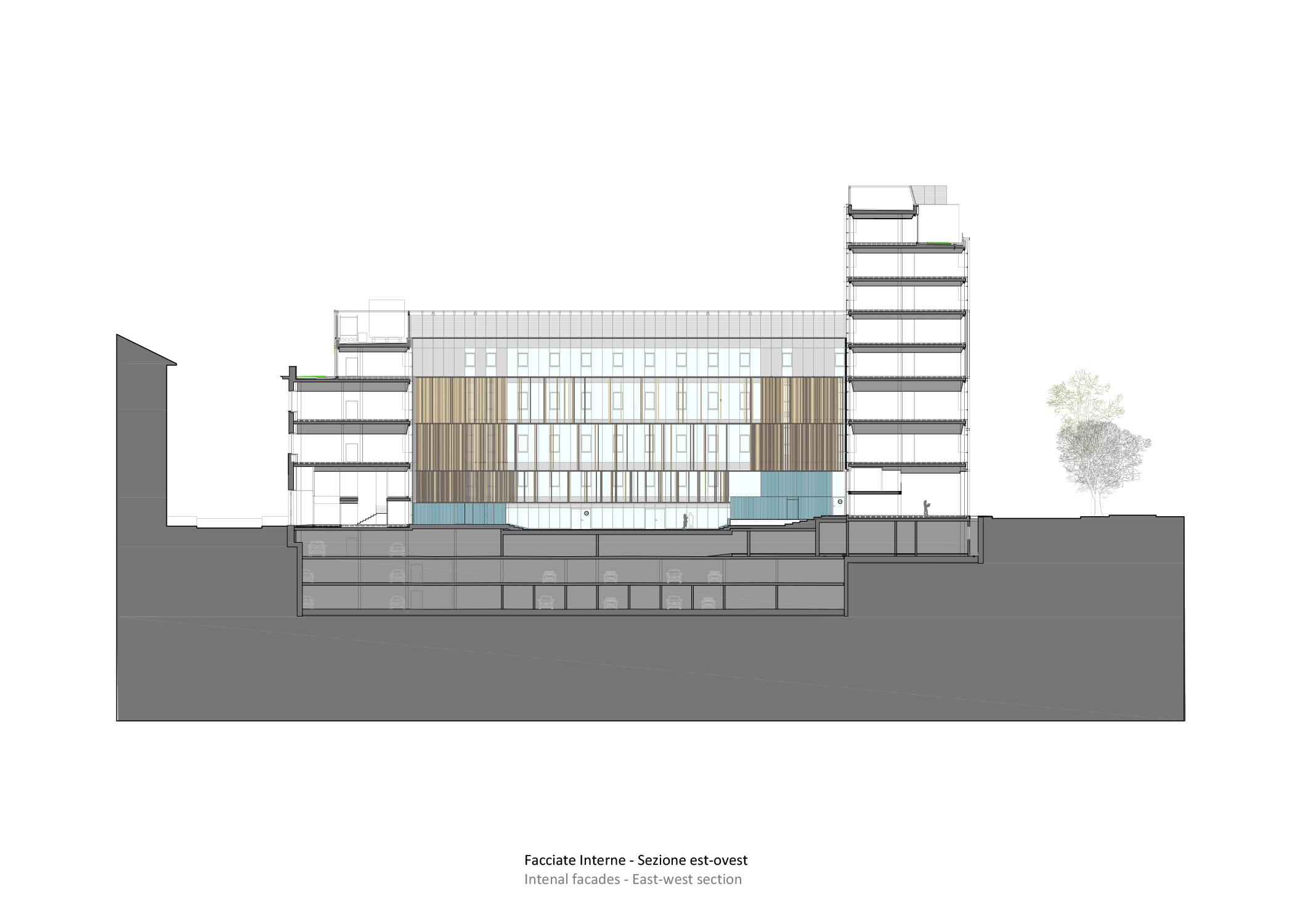 sezione est-ovest Iotti+Pavarani Architetti, Artecna}
