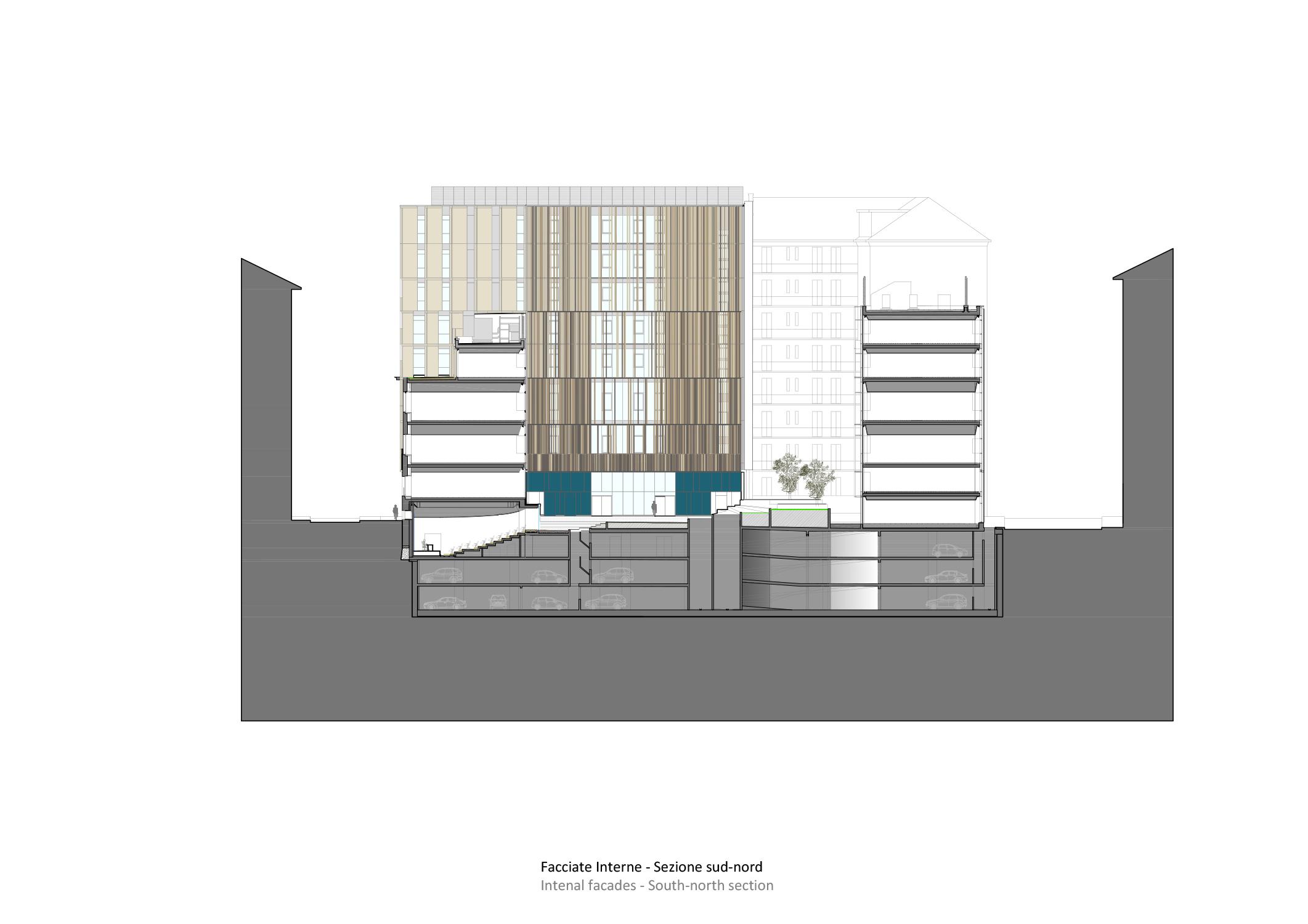 sezione sud-nord Iotti+Pavarani Architetti, Artecna}