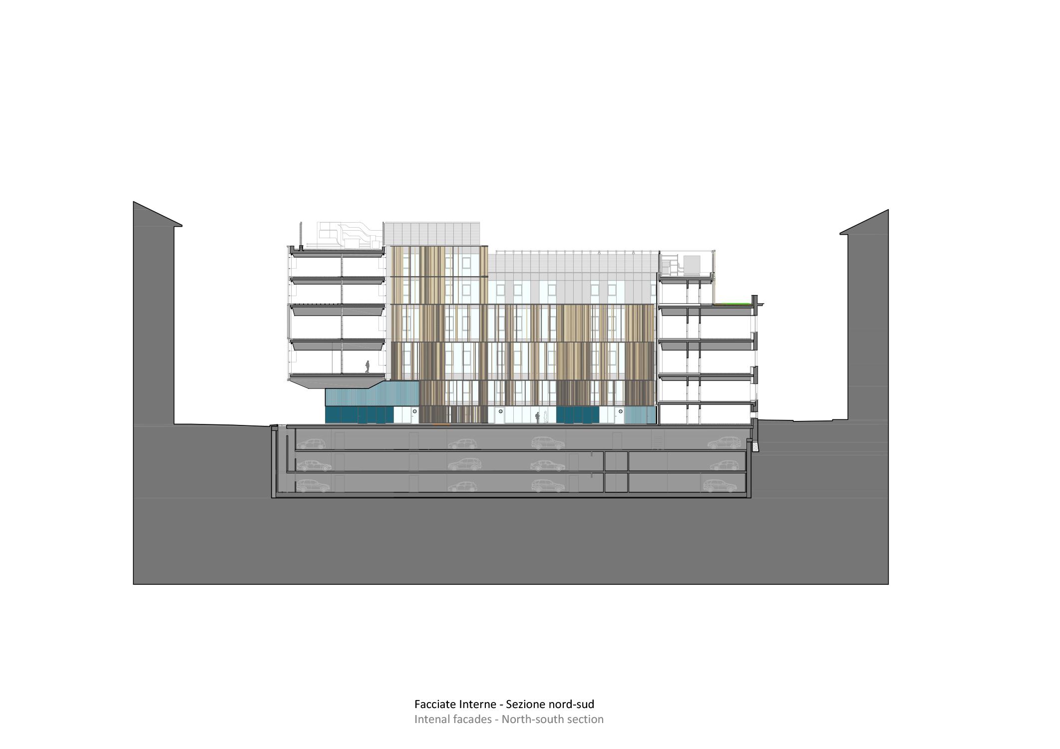 sezione nord-sud Iotti+Pavarani Architetti, Artecna}