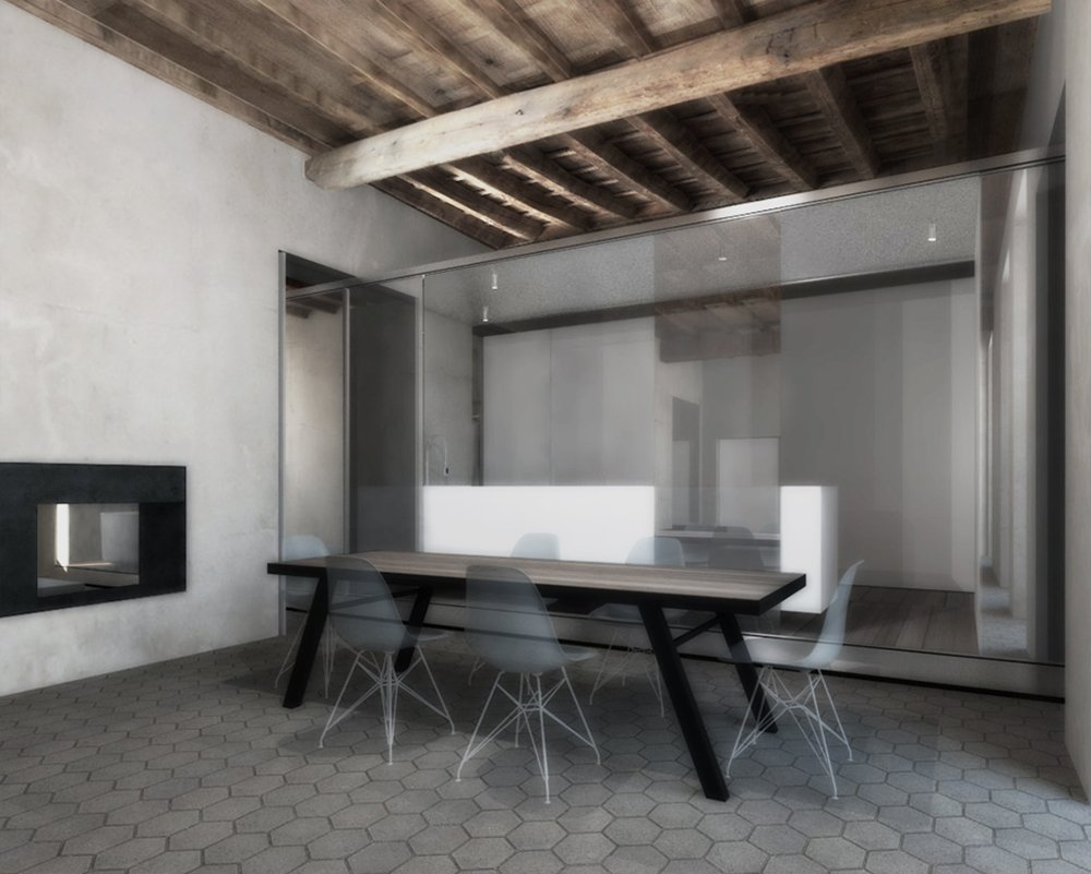 Render of Dining and Kitchen }