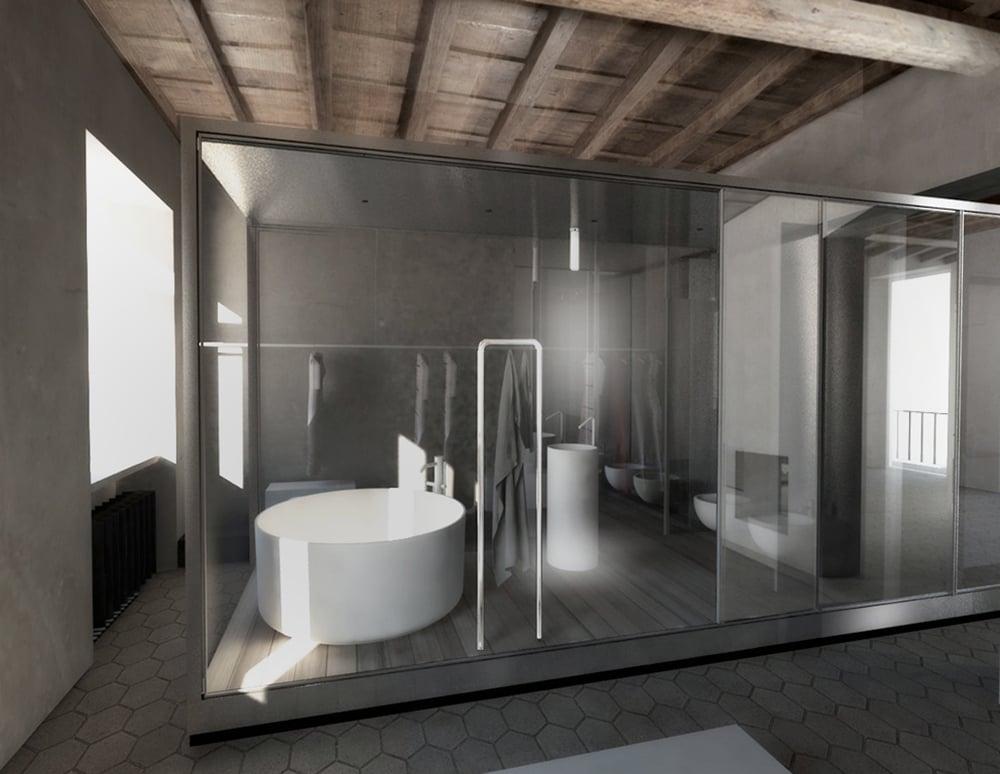 Render of Main Bathroom }