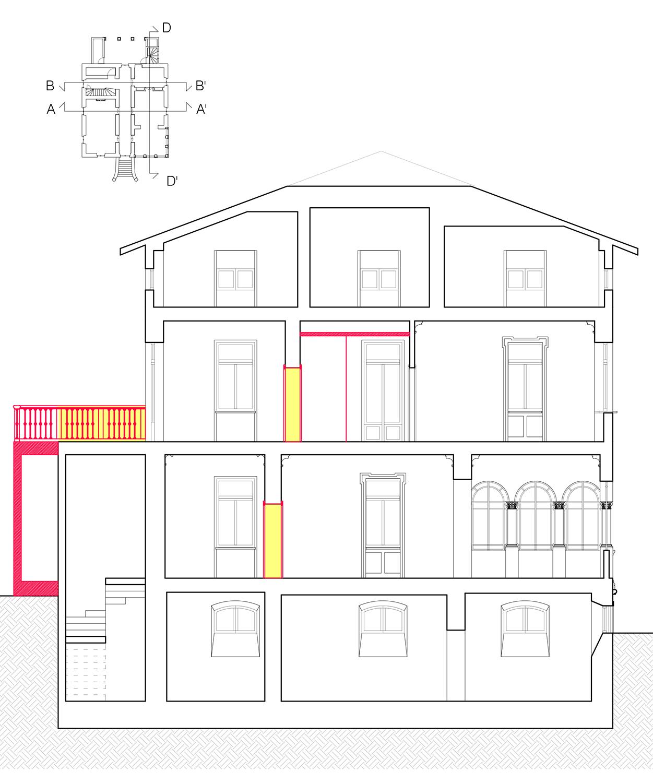Sezione tasversale: ristrutturazione ed ampliamento di portico e terrazza Lucchini Architetti}