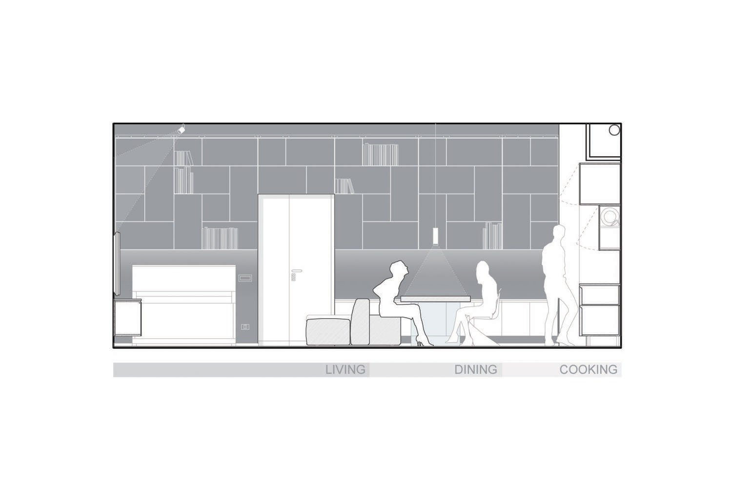 Section of the kitchen/living-room area Luca Peralta
