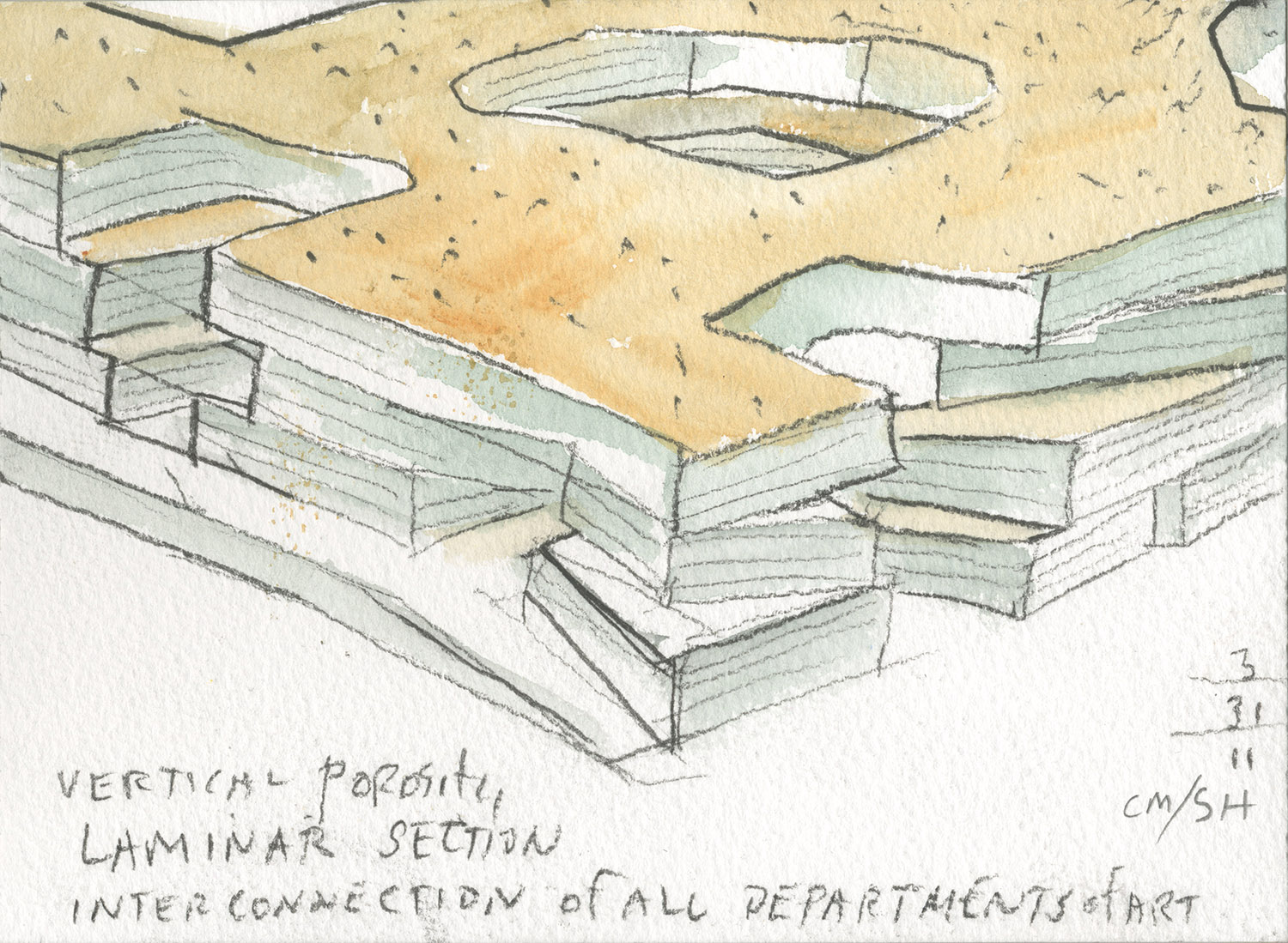 Watercolor concept sketch describing shifting plates intersected with vertical cuts }