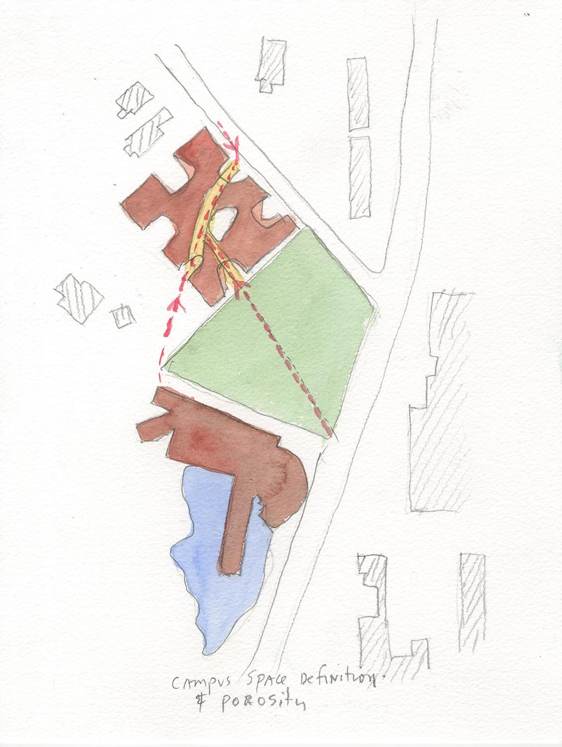 Watercolor concept sketch showing campus space definition and porosity, developing inviting ground floor public access through the building and forming an arts meadow with Art Building West }