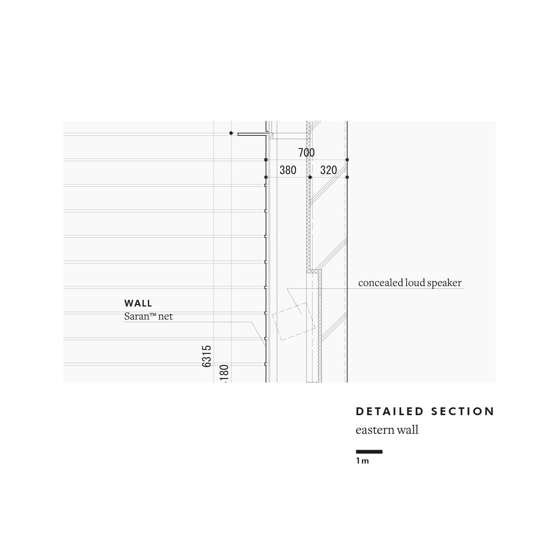 Detailed section: eastern wall Satoshi Okada architects Inc.}
