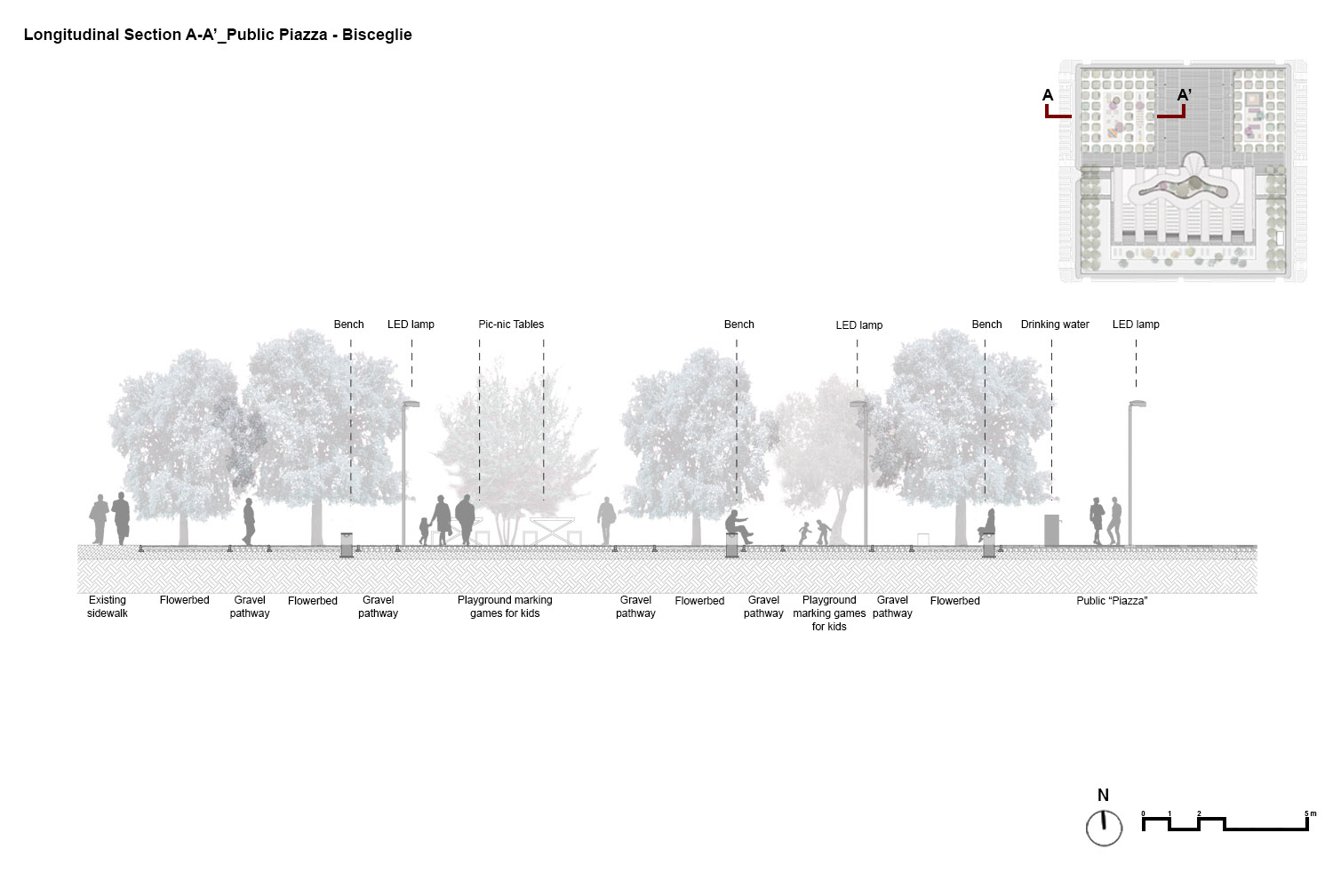 Cross section A-A' of the piazza with the arrangement specifications PERALTA - design & consulting}
