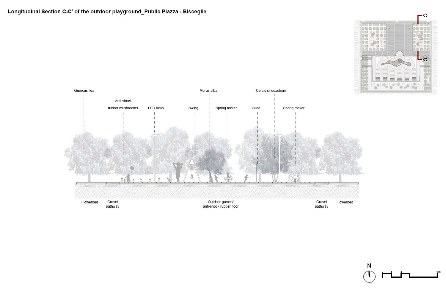 Longitudinal section C-C' of the outdoor playground PERALTA - design & consulting}
