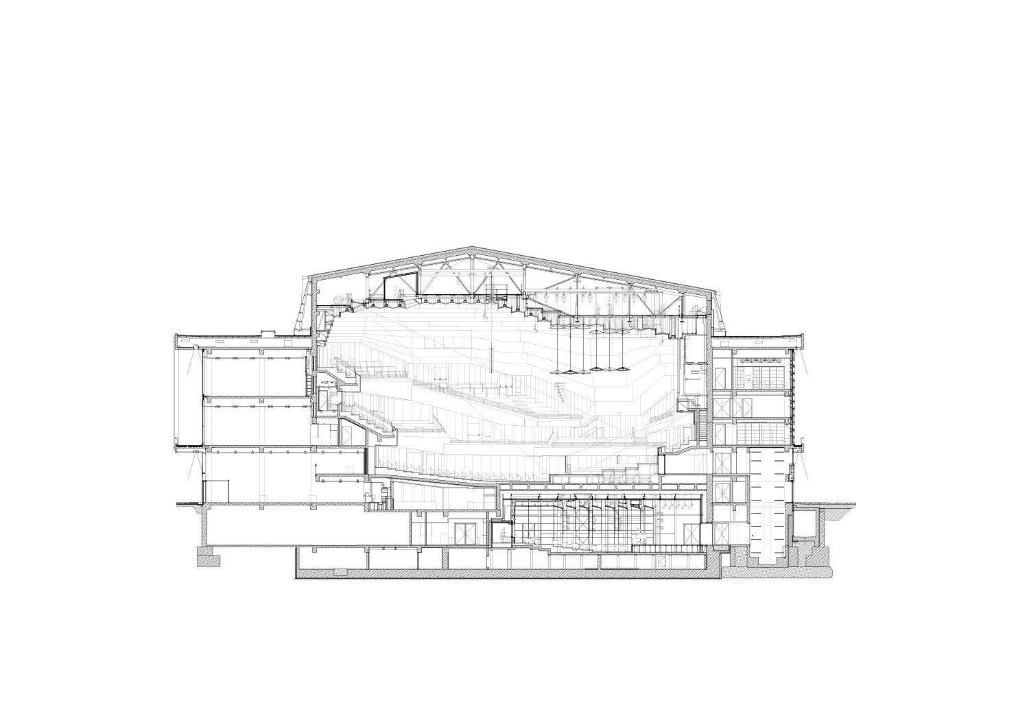 Cross-section through concert hall gmp von Gerkan, Marg and Partners Architects}
