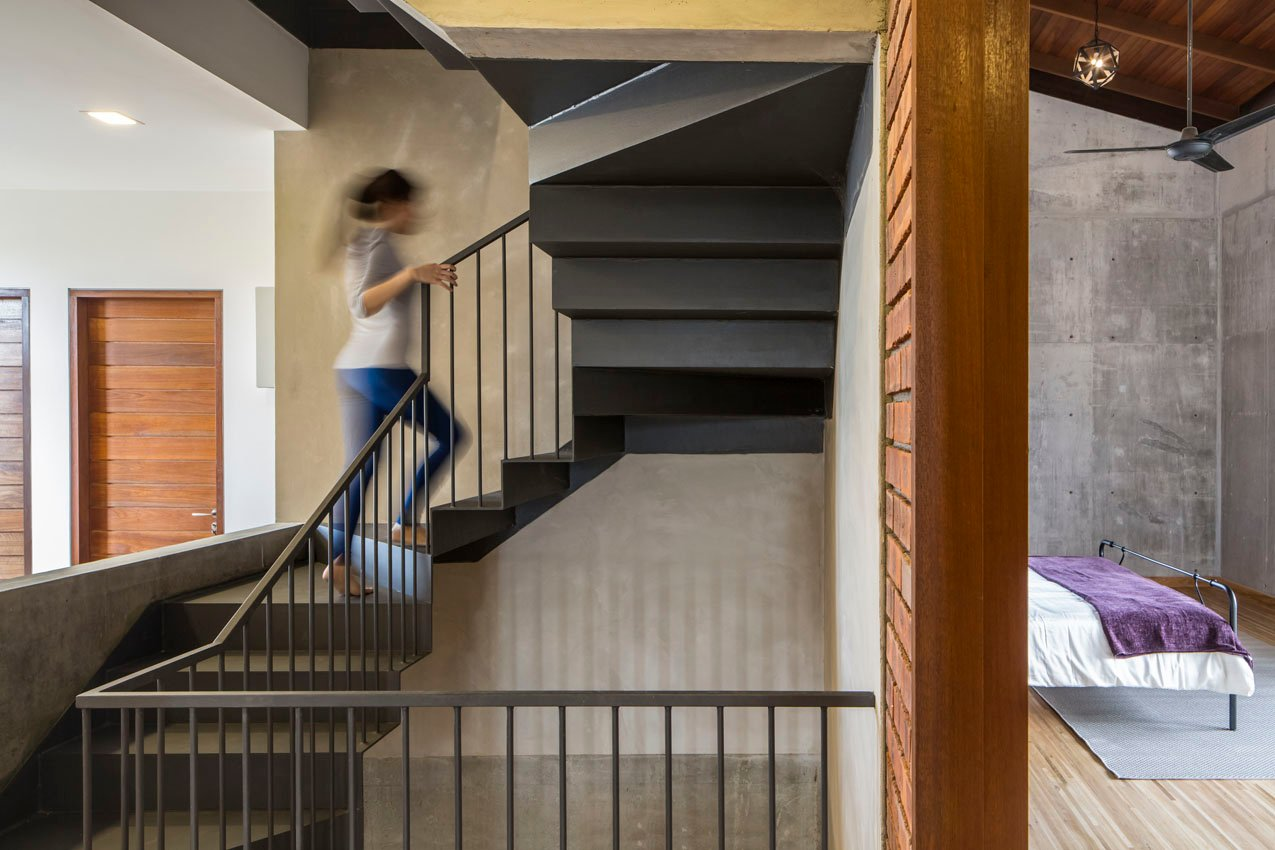 steel staircase to attic space
