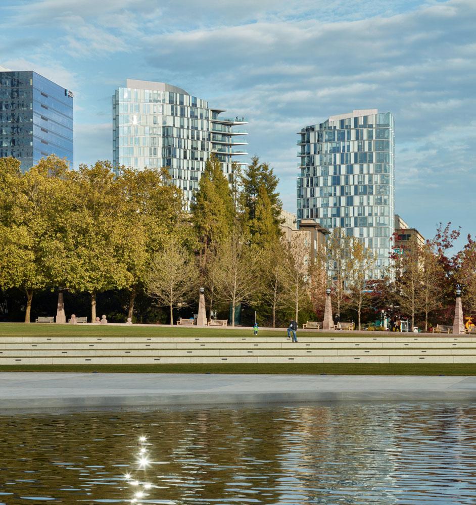 View of SOMA Towers from neighborhood park. Benjamin Benschneider