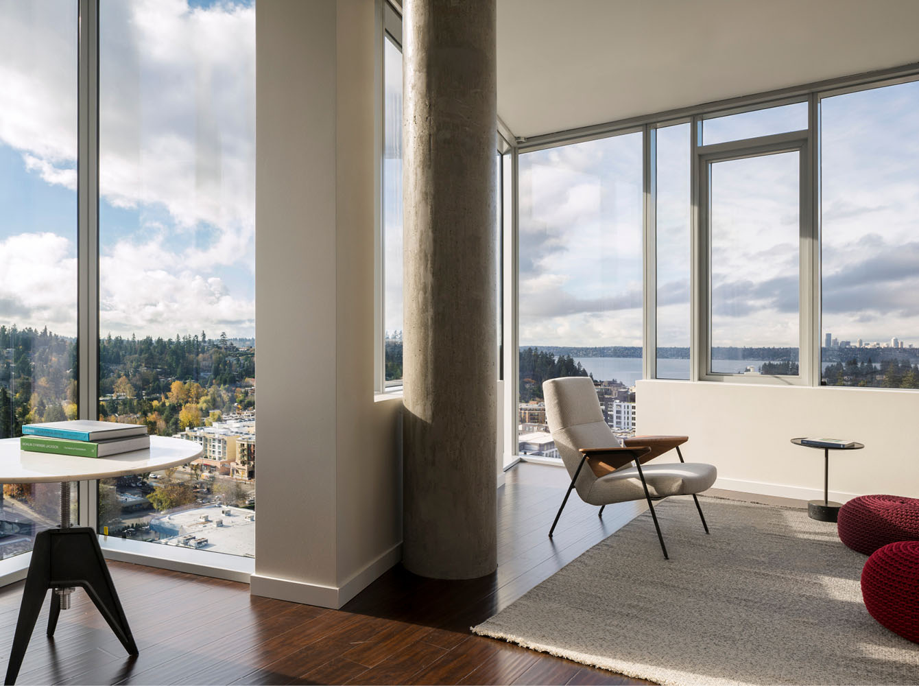 A typical unit with views of Lake Washington and the Seattle skyline beyond. Andrew Pogue