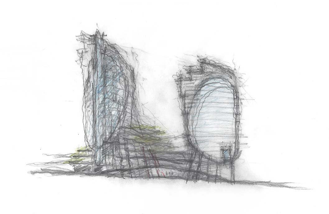 SOMA Towers Phase I+II Conceptual Sketch Bohlin Cywinski Jackson}