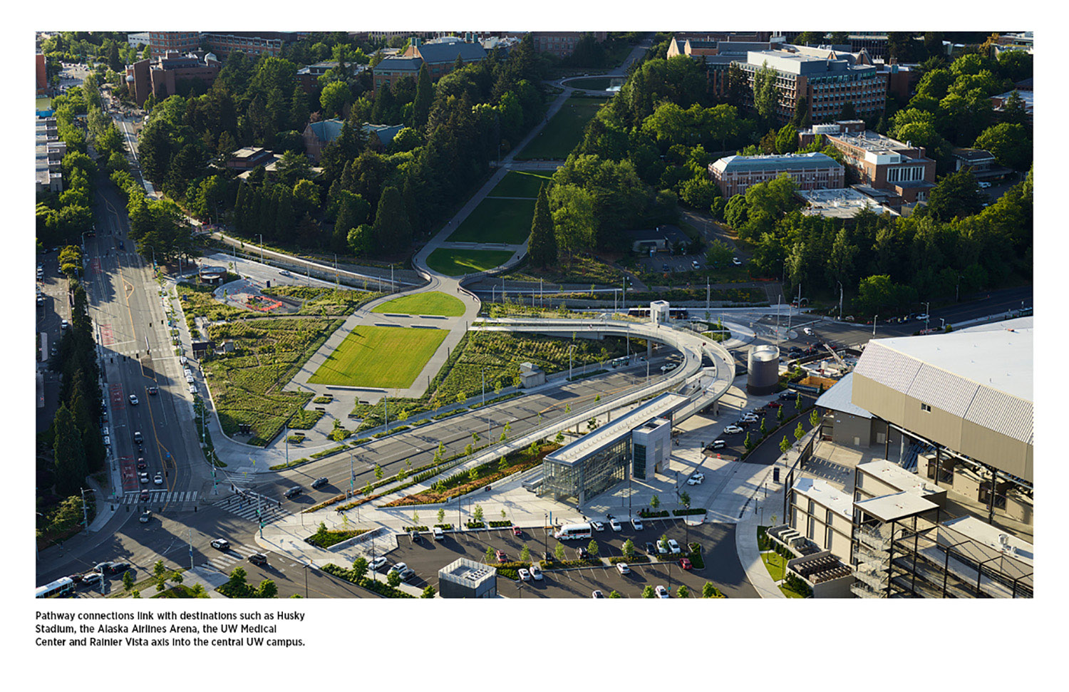 Pathway connections link with destinations such as Husky Stadium, the Alaska Airlines Arena, the UW Medical Center, and Mt. Rainier Vista axis into the center of the UW campus. Kevin Scott