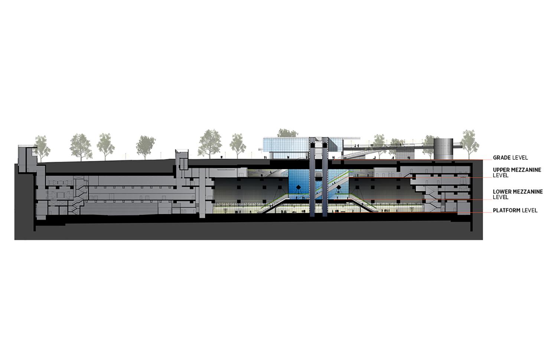 Cross section of the Sound Transit University of Washington Station. LMN Architects