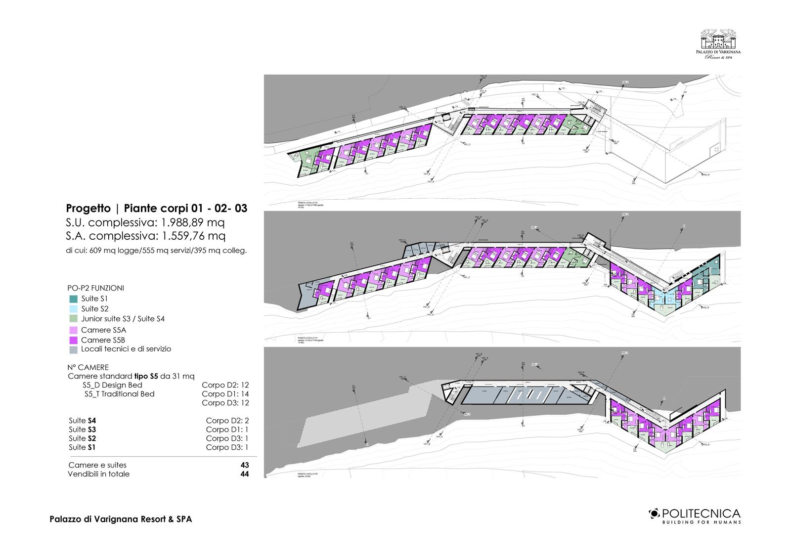 TAVOLA PROGETTO_Piante corpi 01-02-03 Politecnica Ingegneria e Architettura}