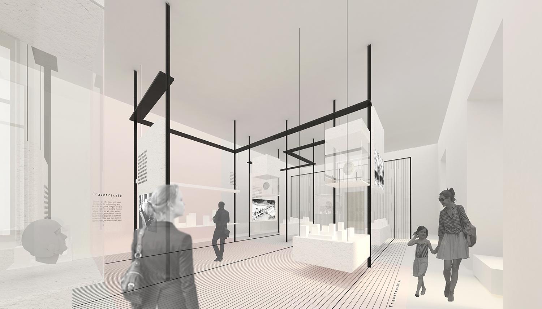 Perspective towards main hall Schluderarchitektur with Tabanlioglu Architects