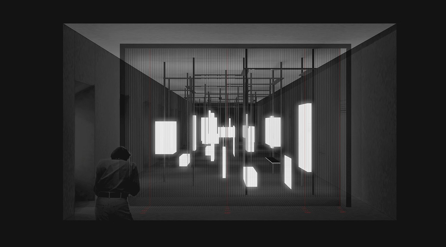 Enlighted view in the darkened room Schluderarchitektur with Tabanlioglu Architects