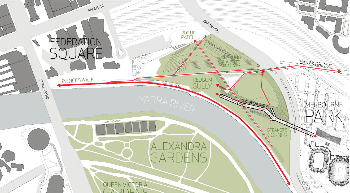 Site Plan of Tanderrum Bridge }