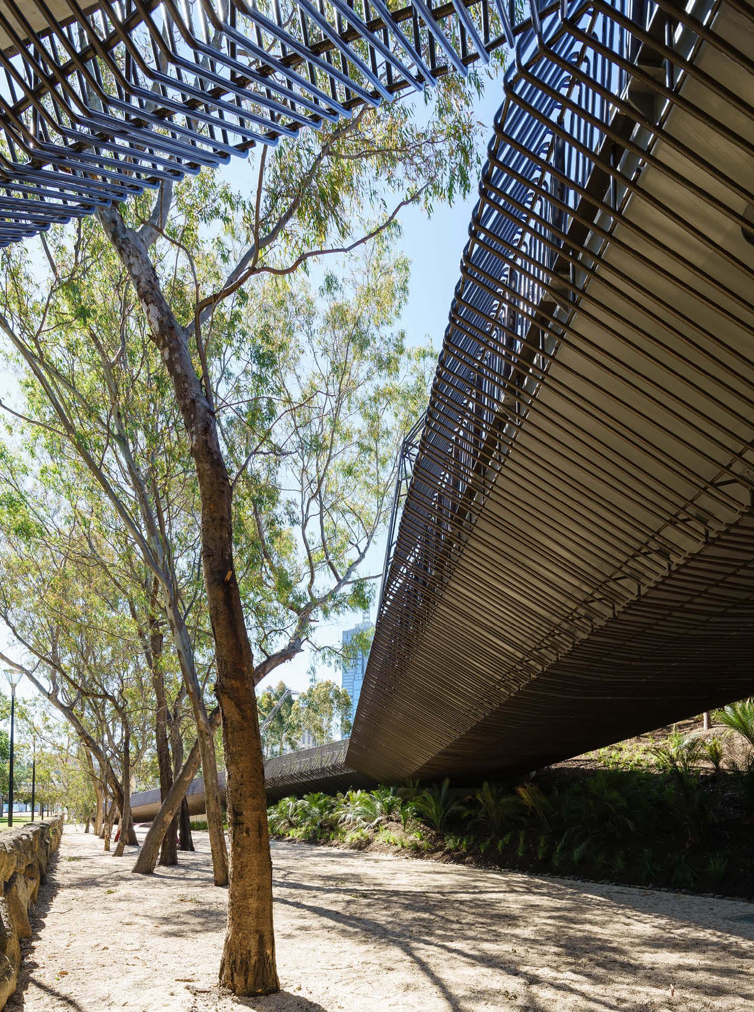The bridge settles into the landscape after crossing Batman Avenue