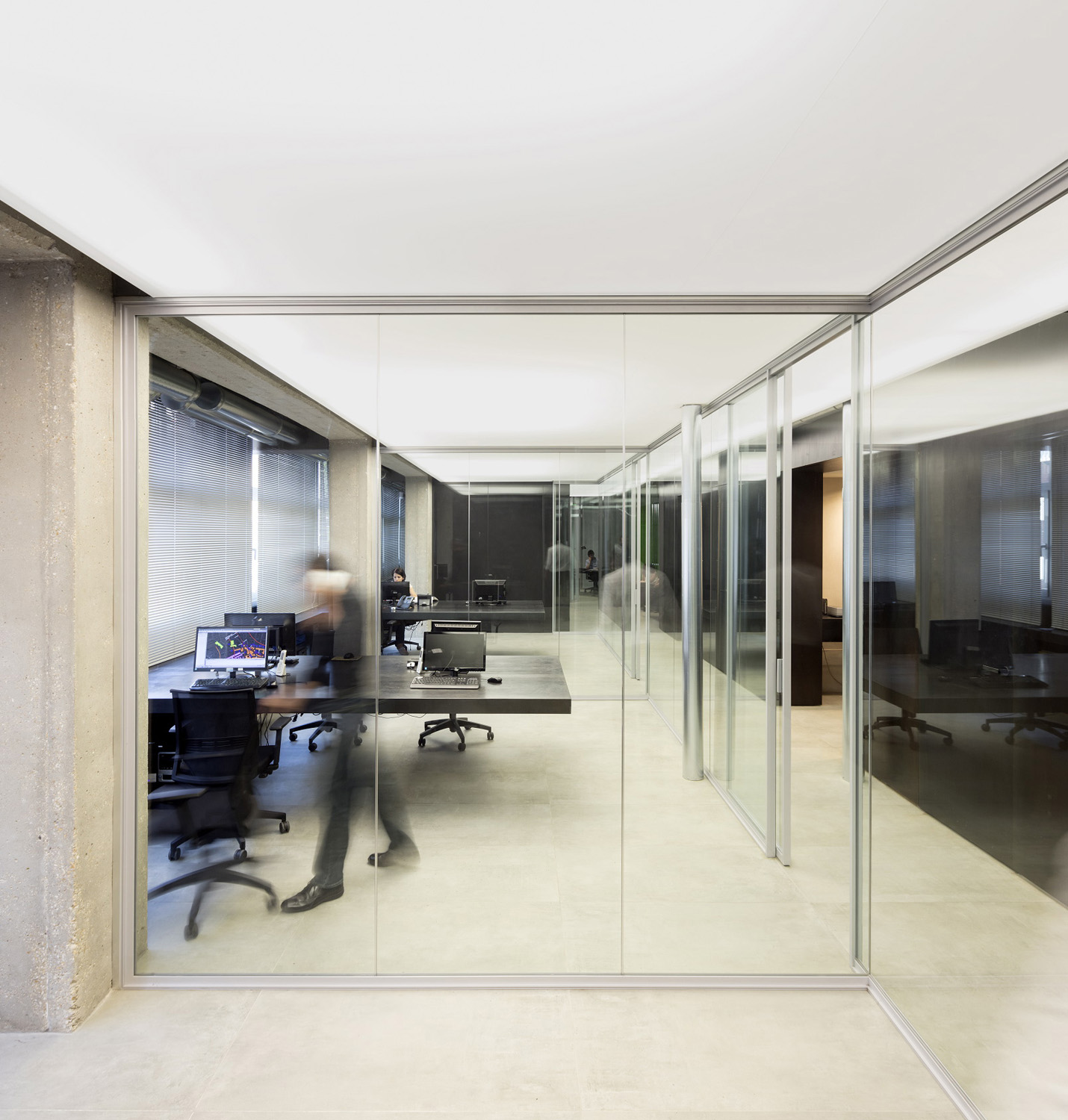 The open space with the light box ceiling