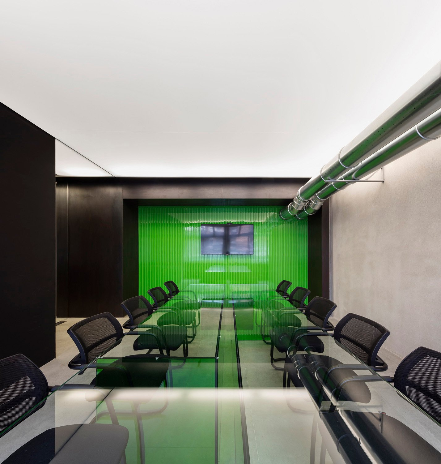 The meeting room at the bottom of the space