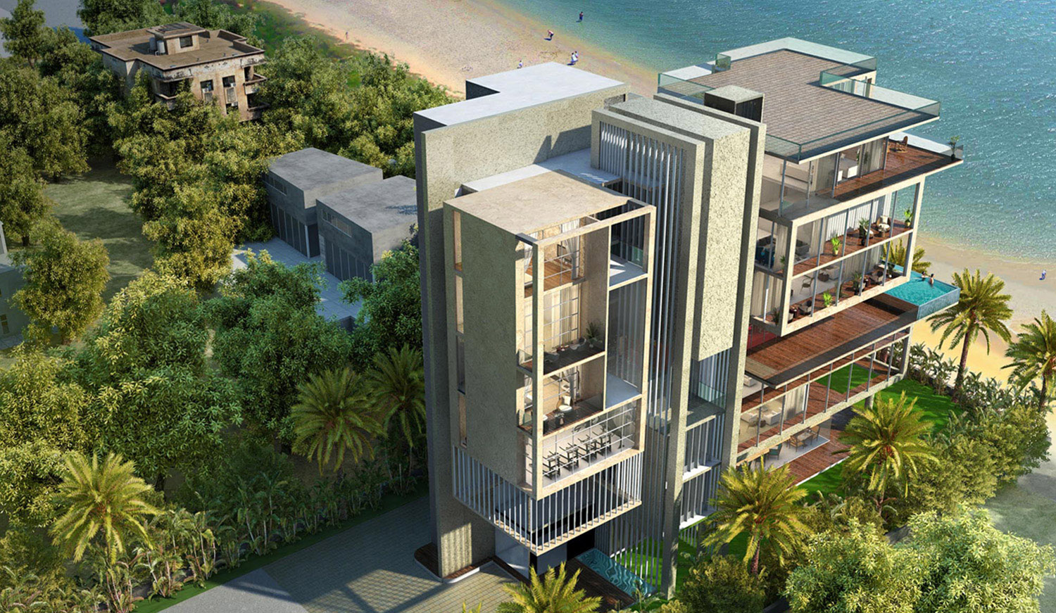 The design seeks to enhance the connection between the structure and its natural surroundings. The orientation of the plan is done in a manner that it optimises the site surroundings, opening up to beach a KNS Architects