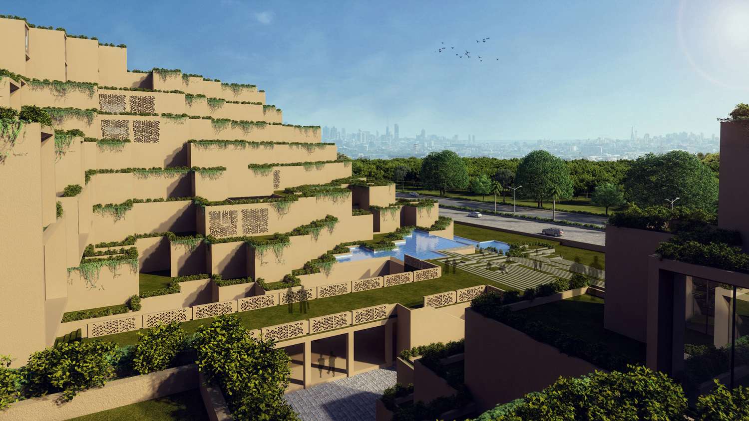 VIEW OVERLOOKING THE TERRACES ON THE NORTH SIDE  SANJAY PURI ARCHITECTS