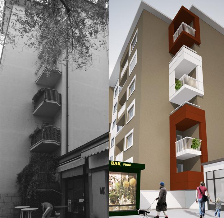 Dettaglio dei balconi d'angolo