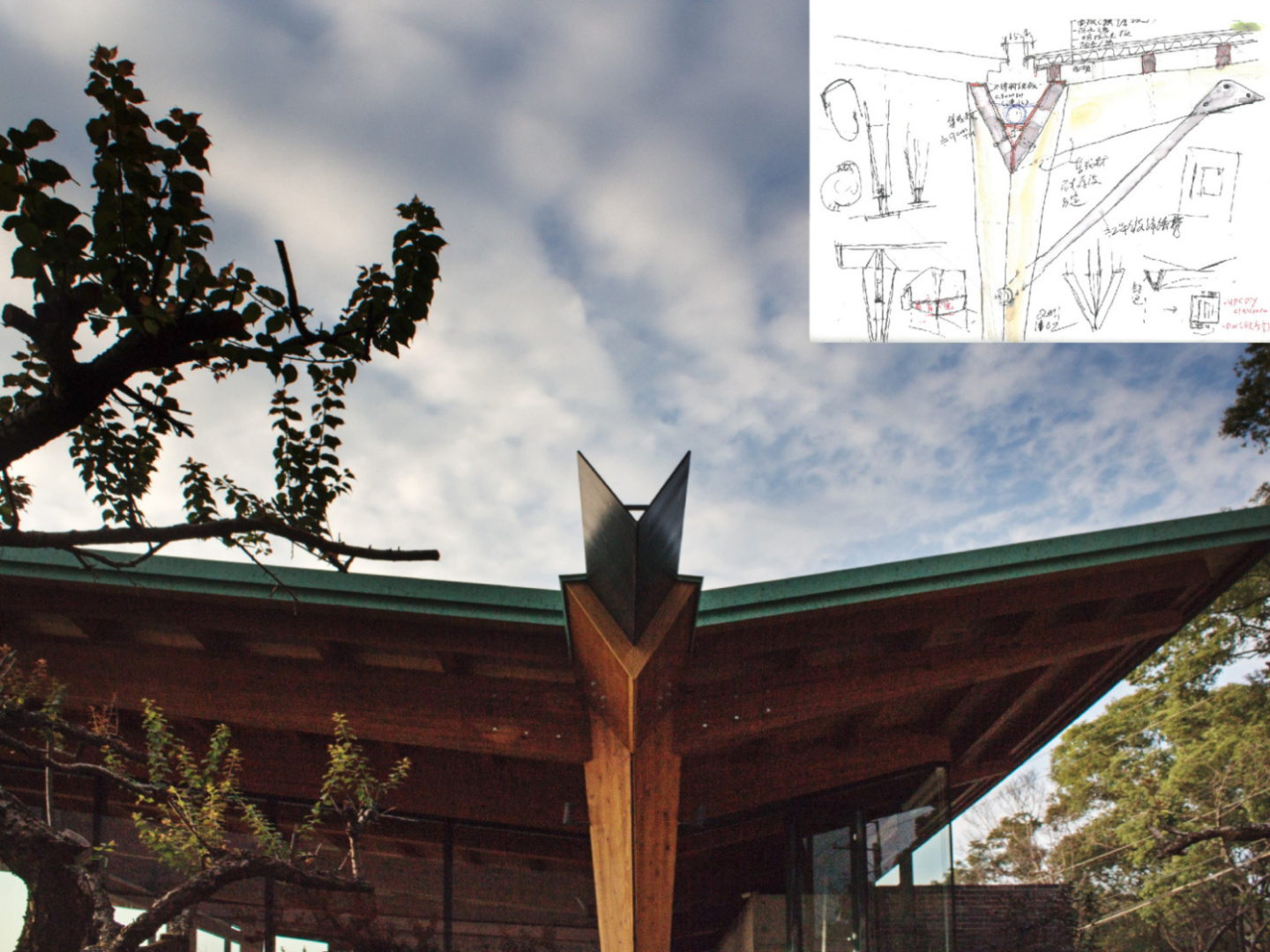 Detail and photo of V-pipe and wood structure }