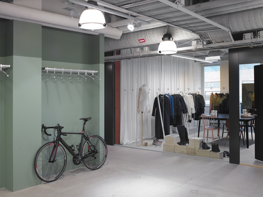 Taking your bike to work is key if the bike is your work. Concrete floors and tough materials throughout.