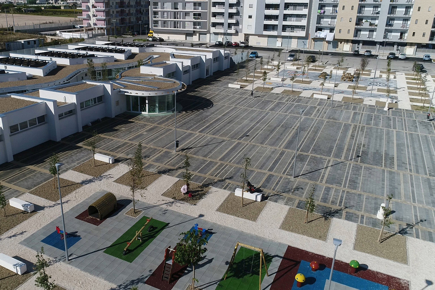 View from the a drone of the public square and adjacent kindergarten Michele Riglietti