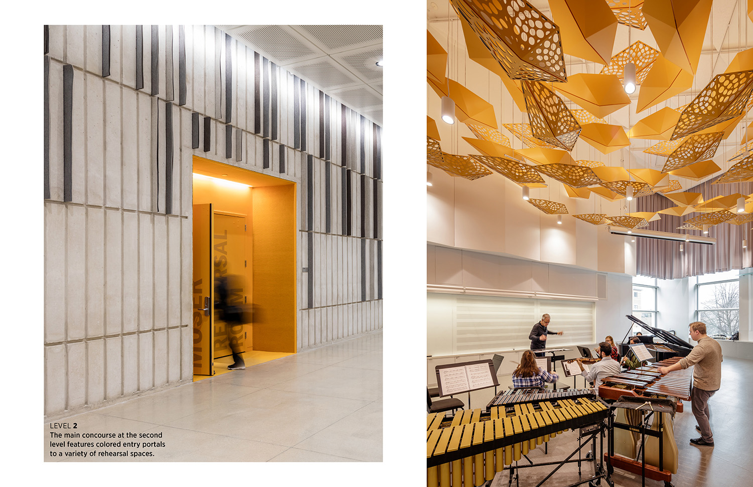 The main concourse at the second level features colored entry portals to a variety of rehearsal spaces. Tim Griffith