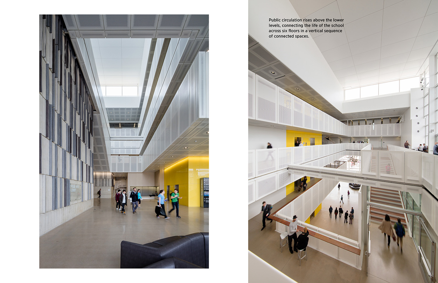 Public circulation rises above the lower levels, connecting the life of the school across six floors in a vertical sequence of connected spaces. Tim Griffith}