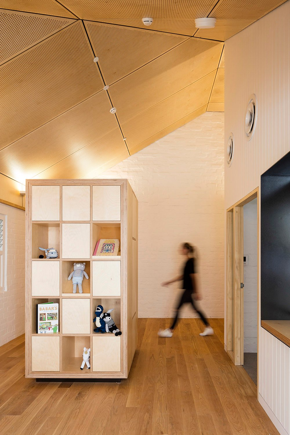 Birch plywood joinery and acoustic lining ceiling Brett Boardman