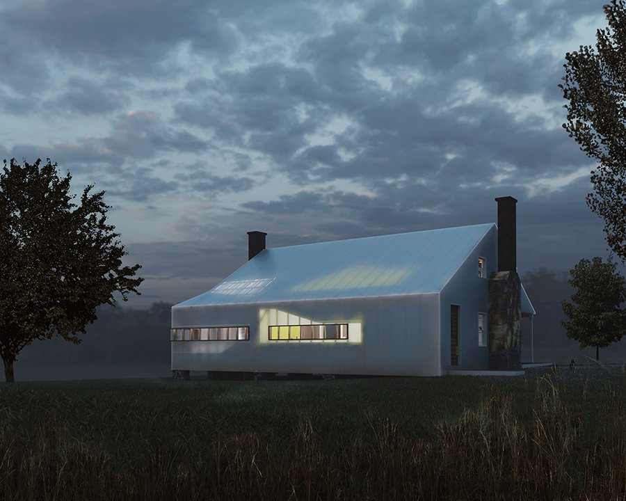 Glow of Kitchen at dusk from western fields mcdowellespinosa architects