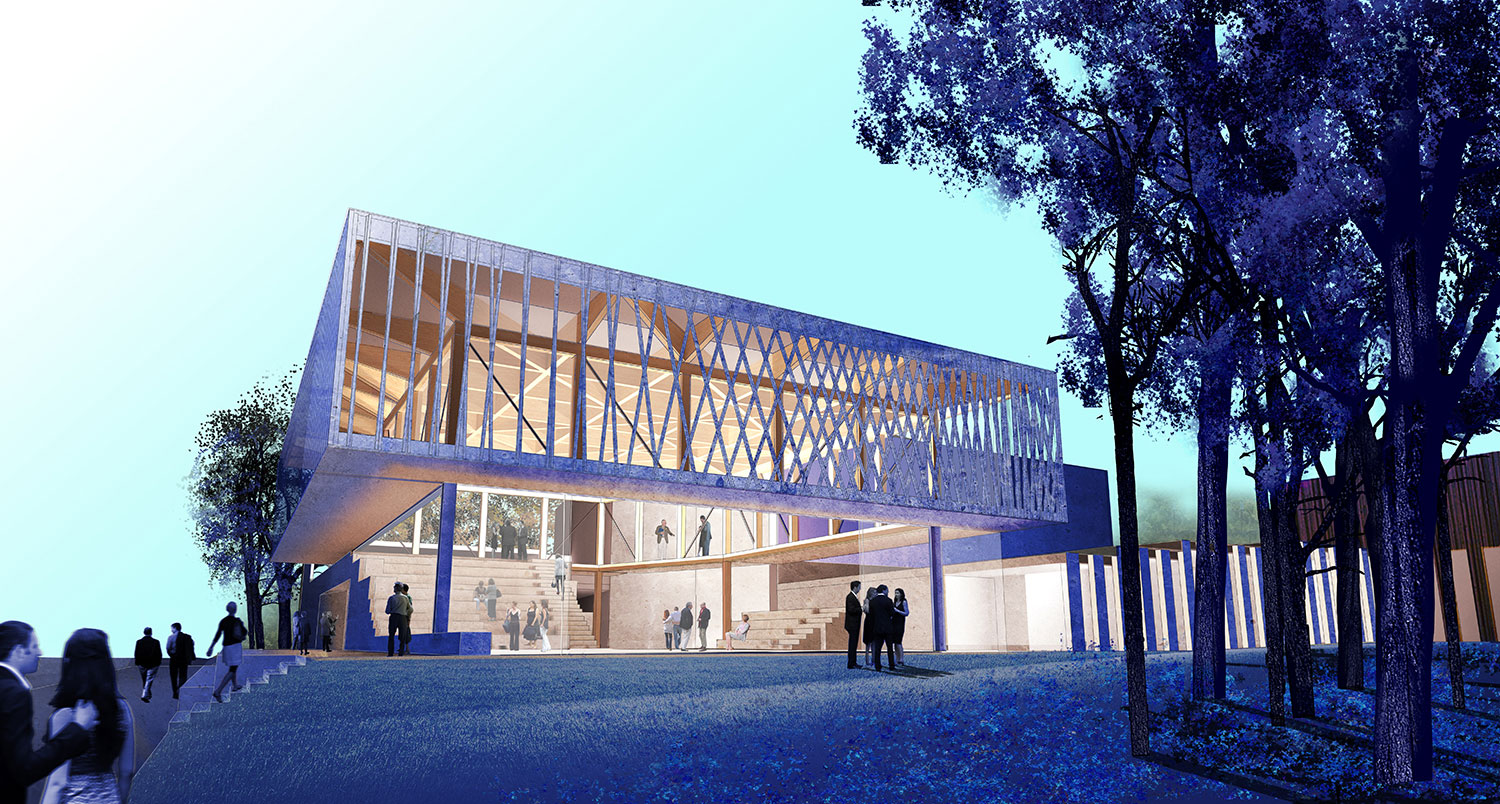 Theater's ability to bring people together across boundaries has made it an important force in urban life since ancient times. The design for Writers Theatre in Glencoe, Illinois, USA, is intended to maxim }