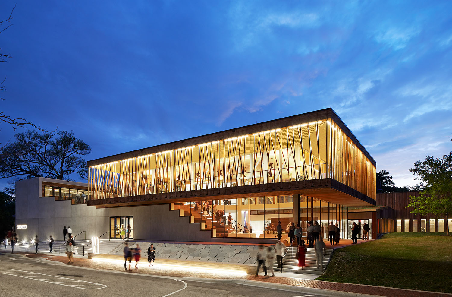 At night, the theater glows from within, drawing interest and activity to this important civic and cultural anchor.