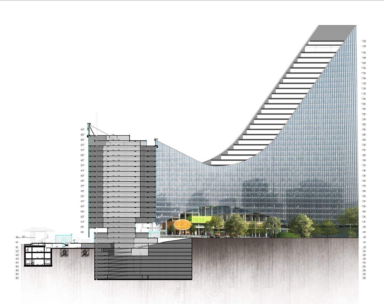 YDA CENTER - SECTION PERSPECTIVE YAZGAN DESIGN ARCHITECTURE}