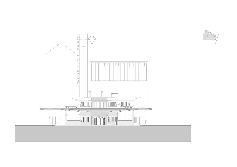 Elevation on Piazzale Accursio © aMDL architetto Michele De Lucchi S.r.l.}