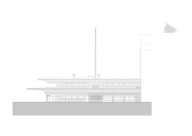 Elevation on viale Espinasse © aMDL architetto Michele De Lucchi S.r.l.}